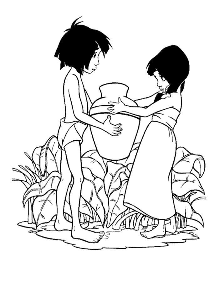 Раскраска Девочка и Маугли. Скачать .  Распечатать