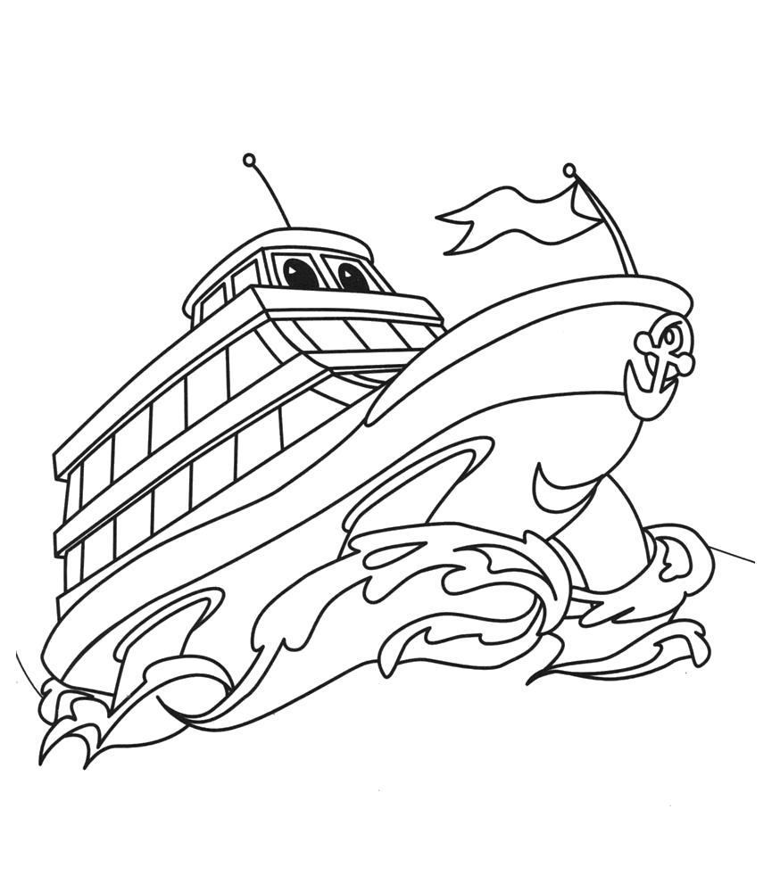 Раскраска Корабли.  малышам. Скачать Кораблик.  Распечатать Кораблик