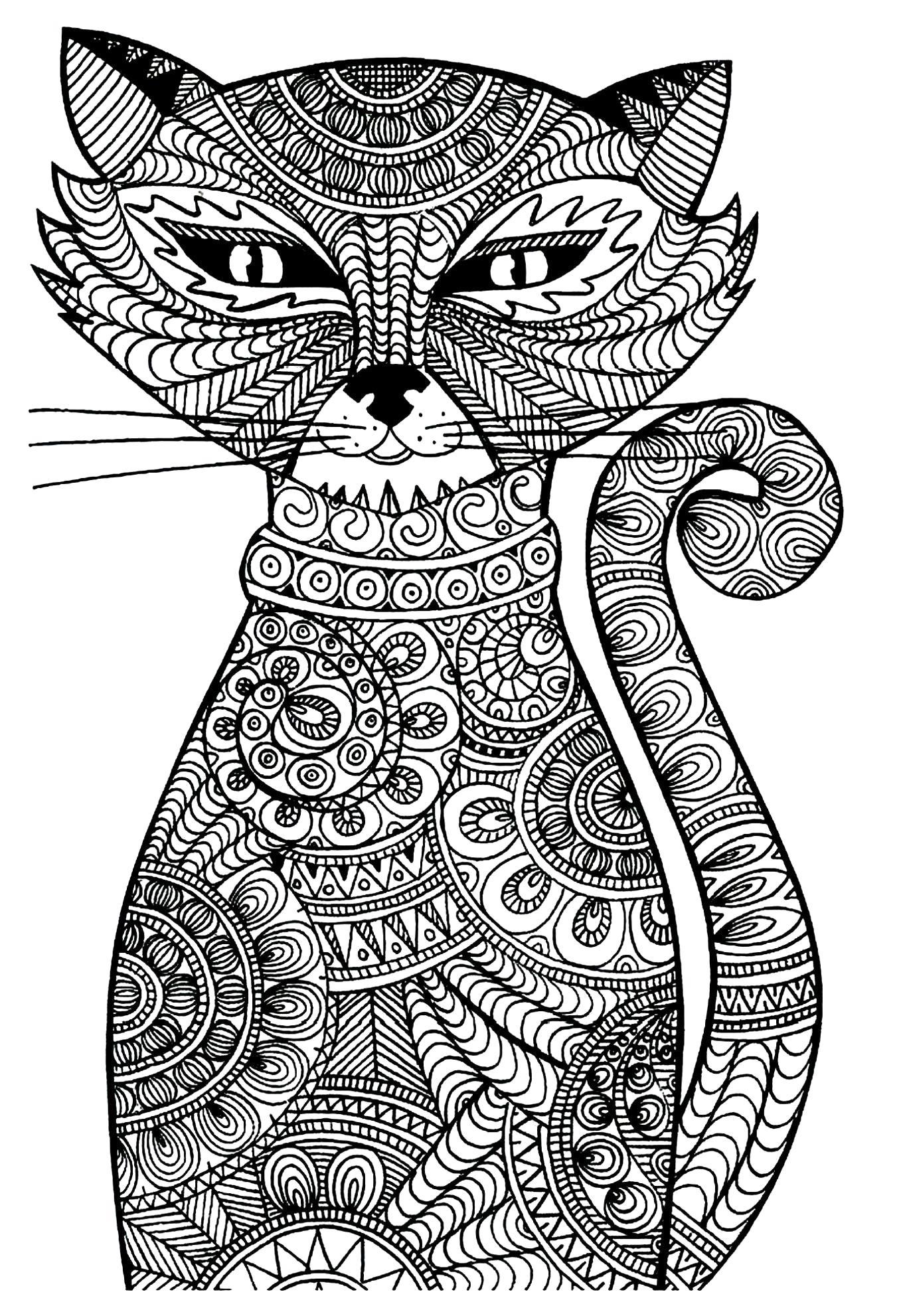 Раскраска кошка. Скачать антистресс.  Распечатать