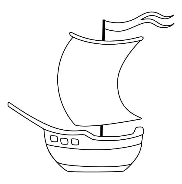 Раскраска  - Малышам - Парусный кораблик с флагом. Скачать Кораблик.  Распечатать Кораблик