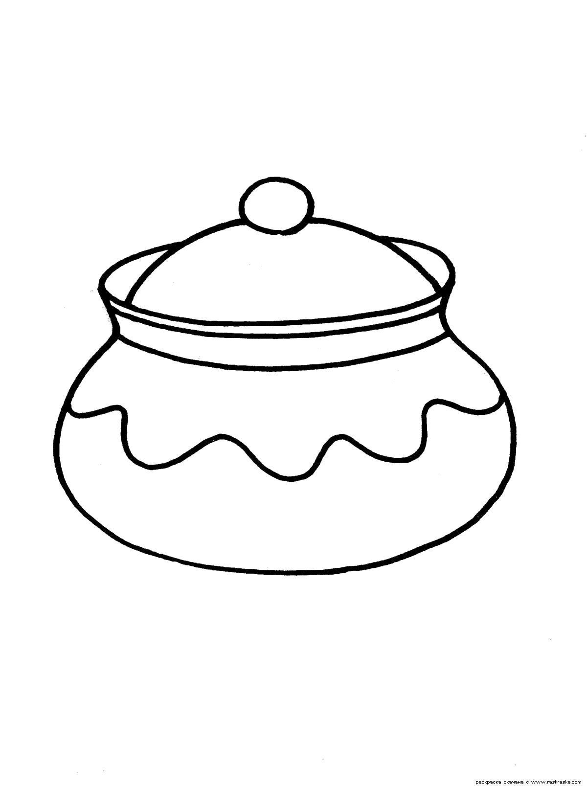 Раскраска Сахарница. Скачать посуда.  Распечатать посуда