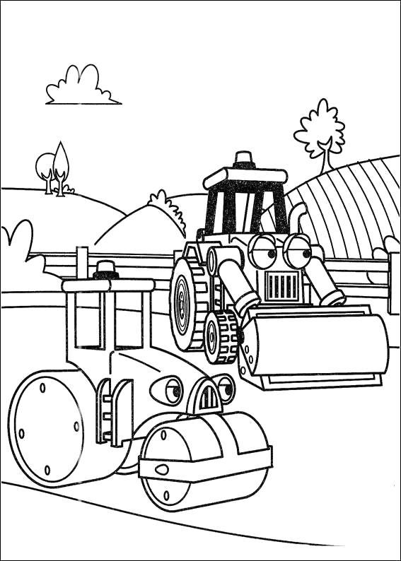 Раскраска  Каток и бульдозер на дороге. Скачать Бульдозер.  Распечатать Бульдозер