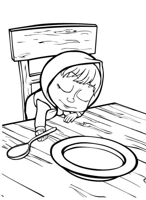 Раскраска маша уснула на столе, маша и каша. Скачать Маша и медведь.  Распечатать Маша и медведь