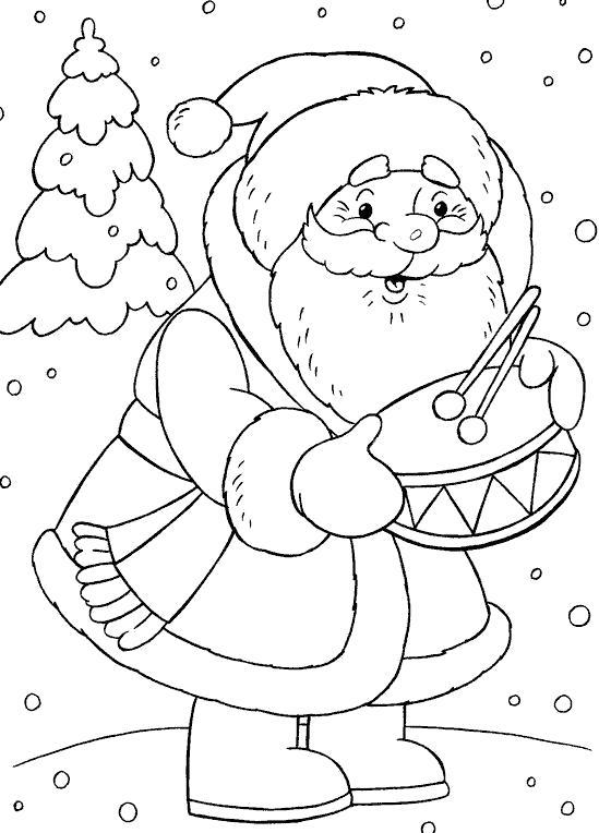 Раскраска дед мороз дарит барабан. Скачать дед мороз с подарками.  Распечатать Дед мороз