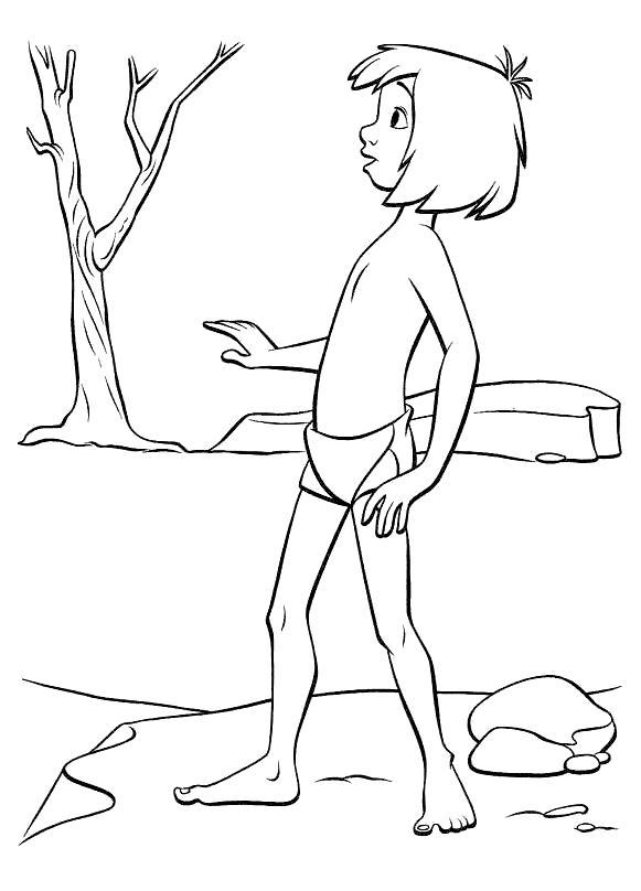 Раскраска Мальчик Маугли. Скачать книга джунглей.  Распечатать книга джунглей