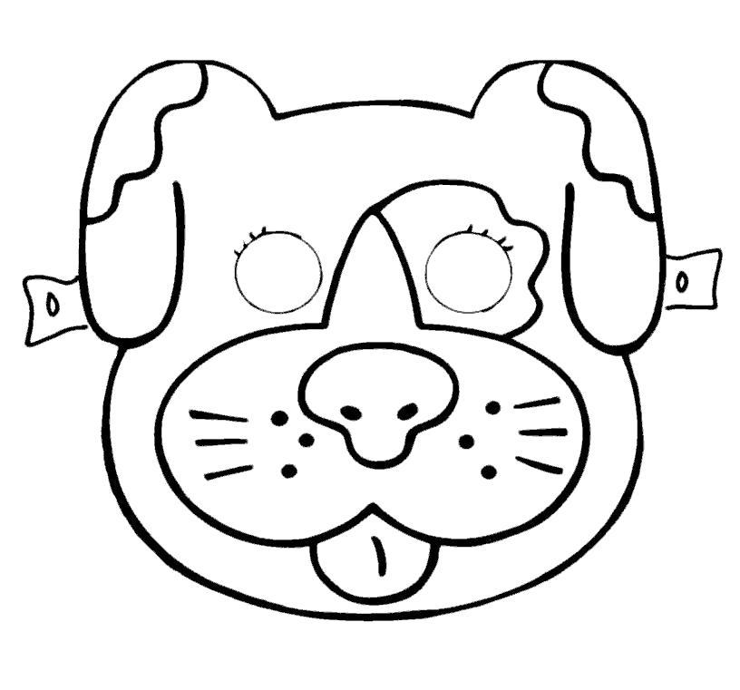 Раскраска маска собачки. Скачать маски.  Распечатать маски