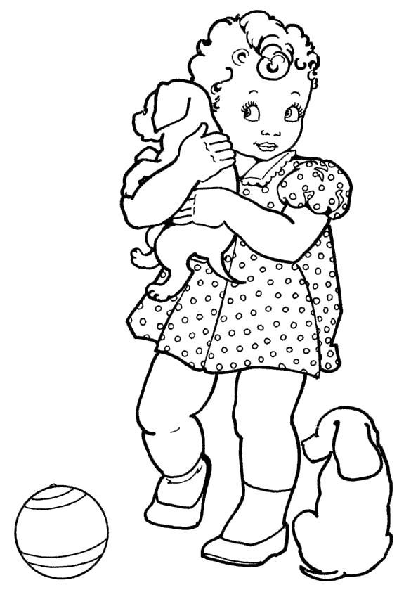 Раскраска Малышка с щенками. Скачать Собаки.  Распечатать Собаки