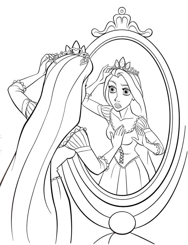 Раскраска  Рапунцель перед зеркалом. Скачать Рапунцель.  Распечатать Рапунцель