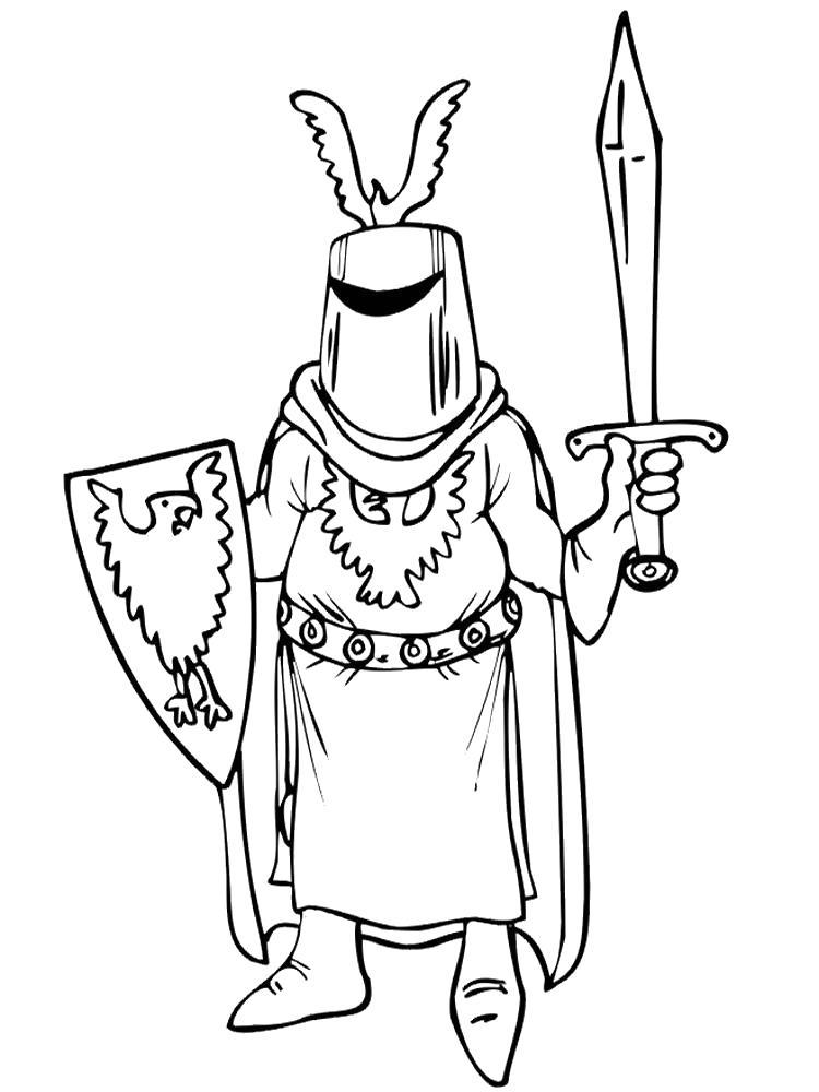 Раскраска Одеяния рыцаря. Скачать рыцари.  Распечатать рыцари