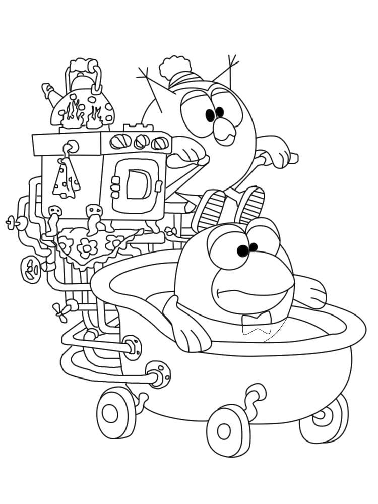 Раскраска Распечатать картинки- для девочек Смешарики Совунья. Совунья с Кар-Карычем участвуют в гонках на самодельном автомобиле.. Скачать Кар-Карыч, Совунья.  Распечатать Смешарики