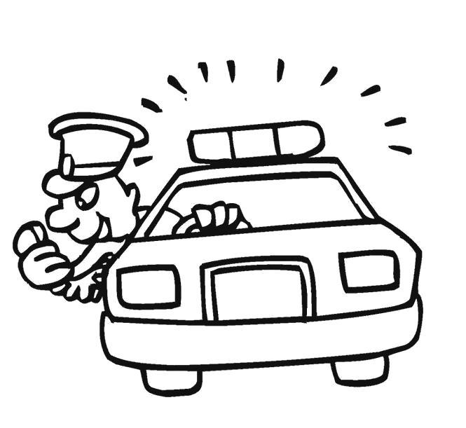 Раскраска полицейский в машине. Скачать машины.  Распечатать для мальчиков