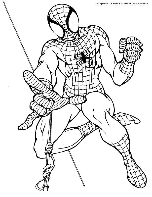 Раскраска мультфильм, человек паук. Скачать .  Распечатать