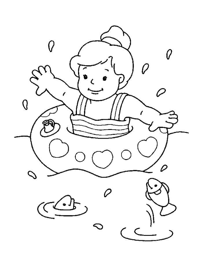 Раскраска мальчик купается с рыбками, мальчик с кругом. Скачать Лето.  Распечатать Лето