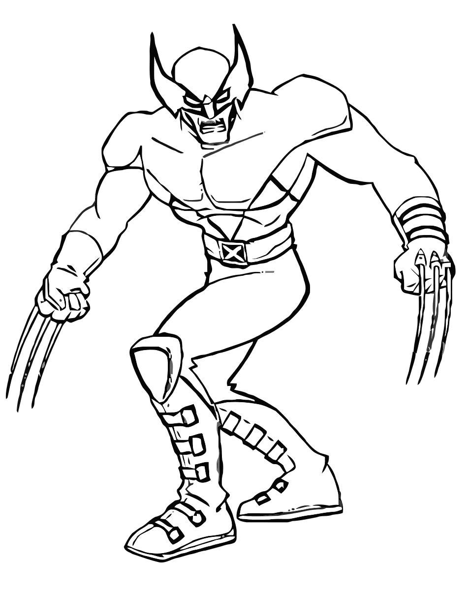 Раскраска Люди Икс. Скачать росомаха.  Распечатать росомаха