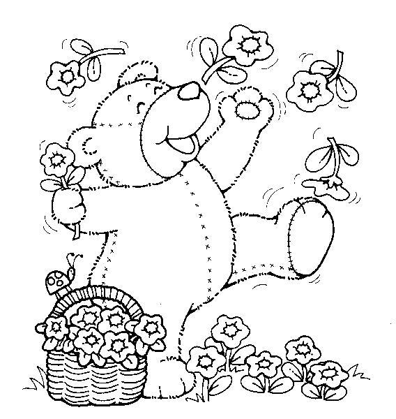 Раскраска Собирает цветы. Скачать Тедди.  Распечатать Тедди