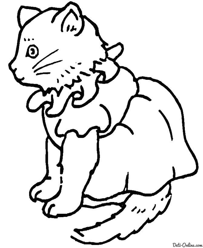 Раскраска  Добрая кошка. Скачать кот.  Распечатать кот