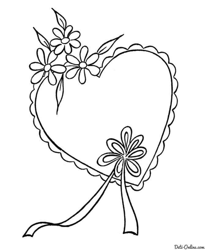 Раскраска  Нарядная валентинка. Скачать день Святого Валентина.  Распечатать день Святого Валентина