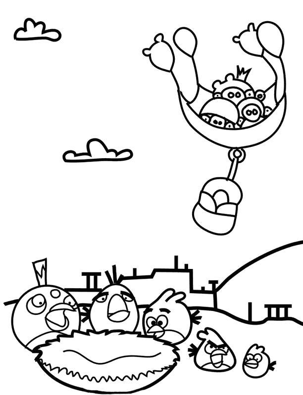 Раскраска Подлые свинки. Скачать энгри берд.  Распечатать энгри берд