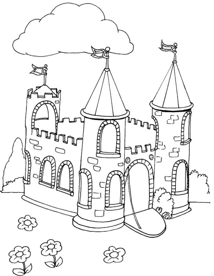 Раскраска  Замок Рыцарский старый. Скачать Замок.  Распечатать Замок