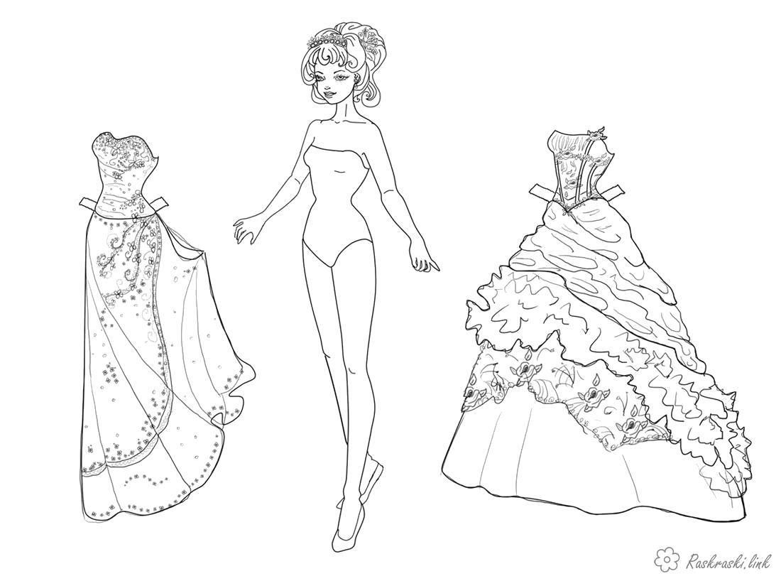 Раскраска  платья , одежда, девочка, платья. Скачать Девочка.  Распечатать Девочка