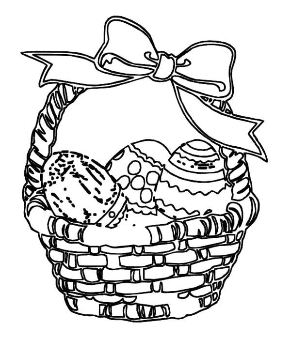 Раскраска яйца, пасхальные яйца, яйца в корзинке. Скачать Пасхальные яйца.  Распечатать Пасхальные яйца