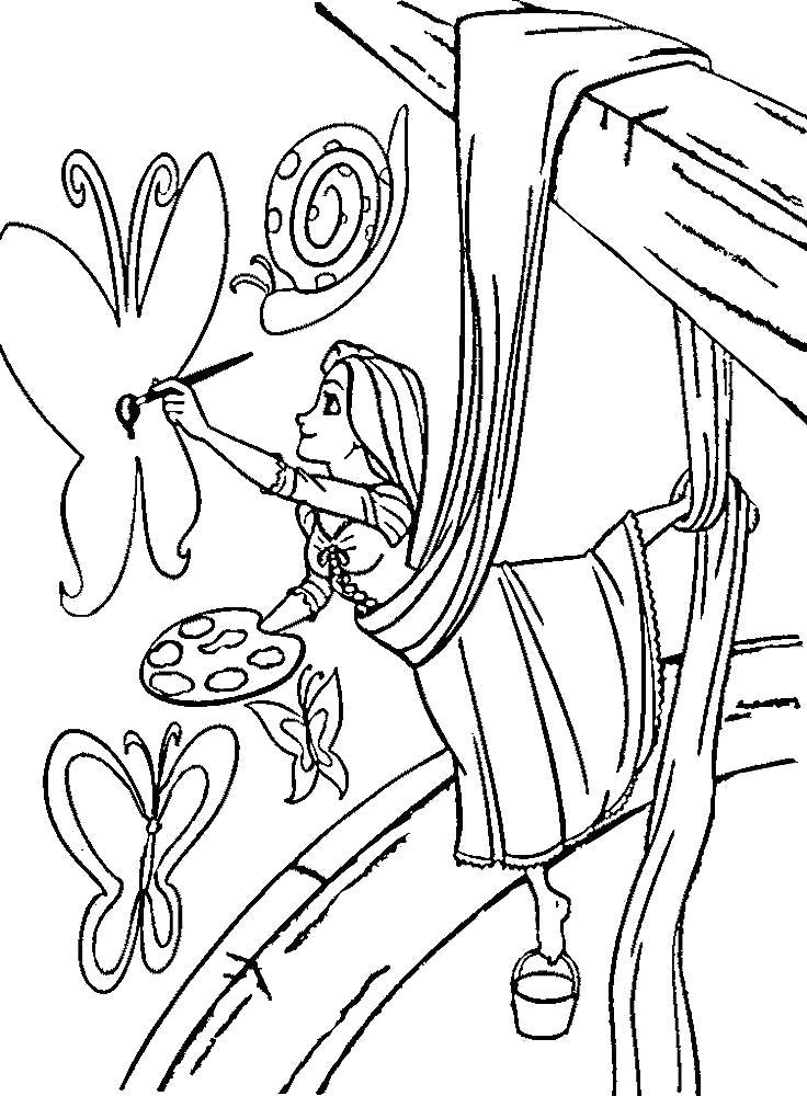 Раскраска Рапунцель  для детей. Картинки Рапунцель рисует . Скачать Рапунцель.  Распечатать Рапунцель