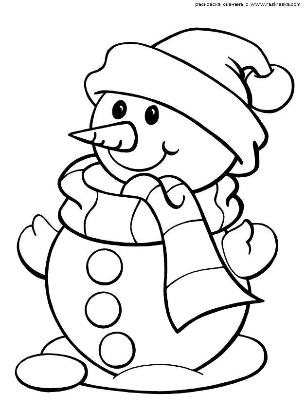 Раскраска  Снеговик в шарфе и шапке.  Картинка снеговик,  снеговик, новогодние  скачать. Скачать новогодние.  Распечатать новогодние