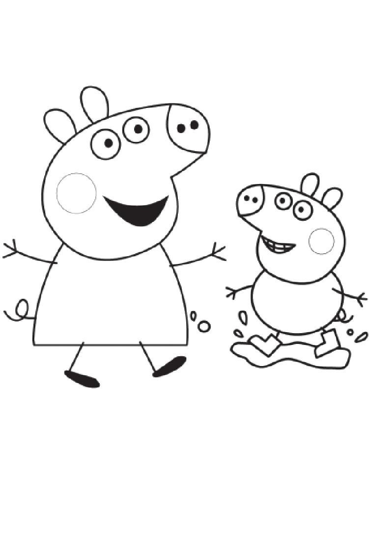 Раскраска Распечатать раскраску Свинка Пеппа. Скачать Свинка Пеппа, Джорж.  Распечатать Свинка Пеппа
