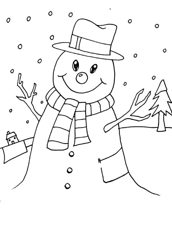 Раскраска Снеговик или Снежная баба?. Скачать снег.  Распечатать снег