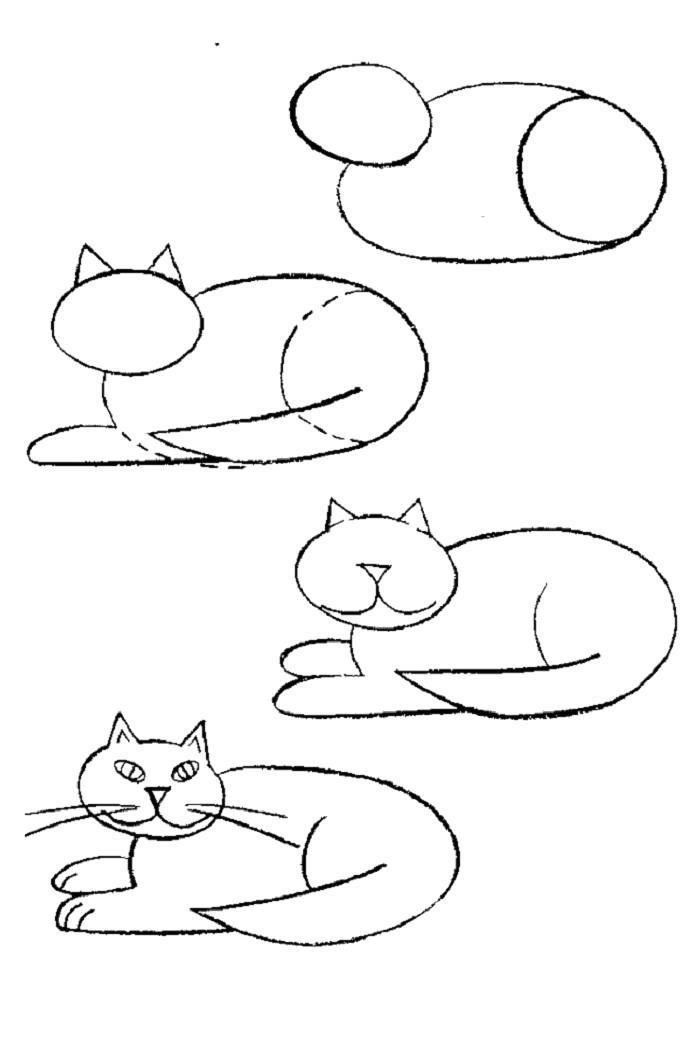 Раскраска как нарисовать лежащего кота. Скачать Как нарисовать.  Распечатать Как нарисовать