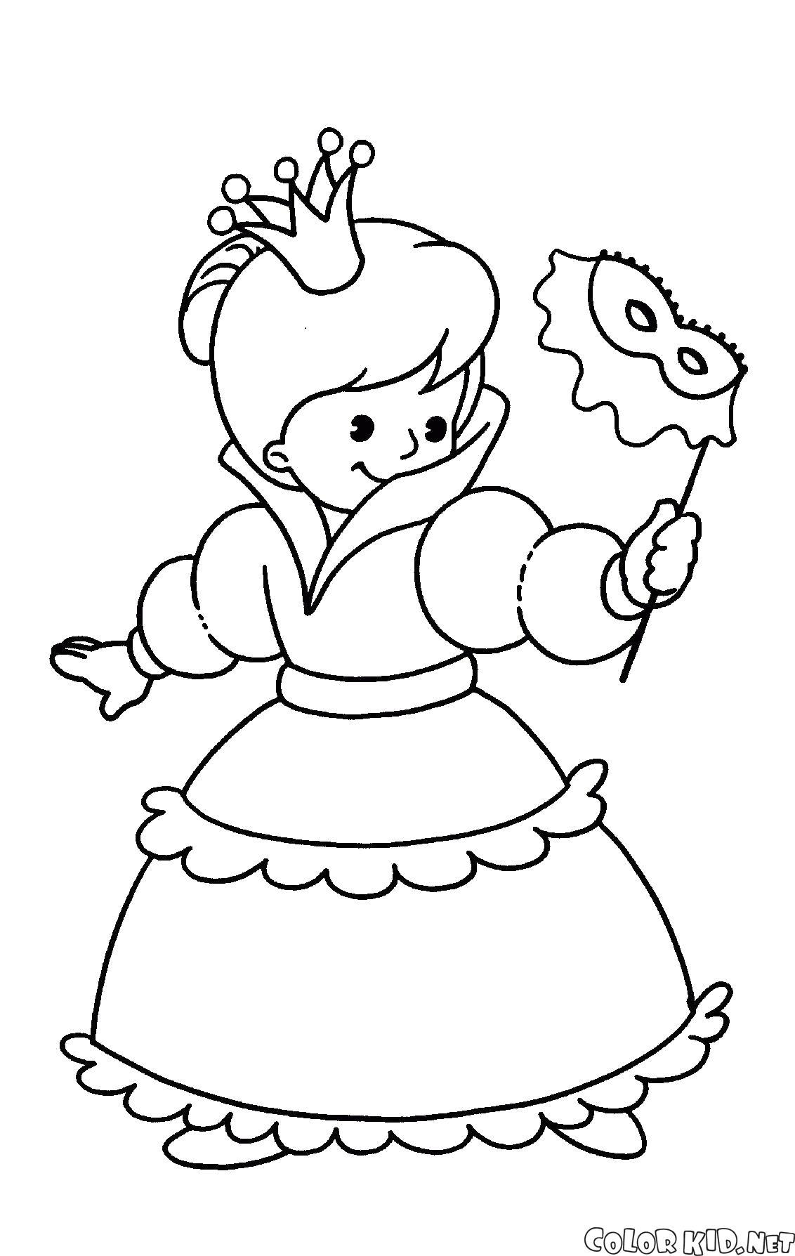 Раскраска Новогодний костюм принцессы. Скачать костюм.  Распечатать костюм