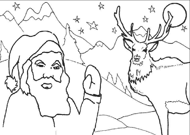 Раскраска Дед Мороз готовится к Новому году. Дед мороз и олень. Скачать дед мороз едет.  Распечатать Дед мороз