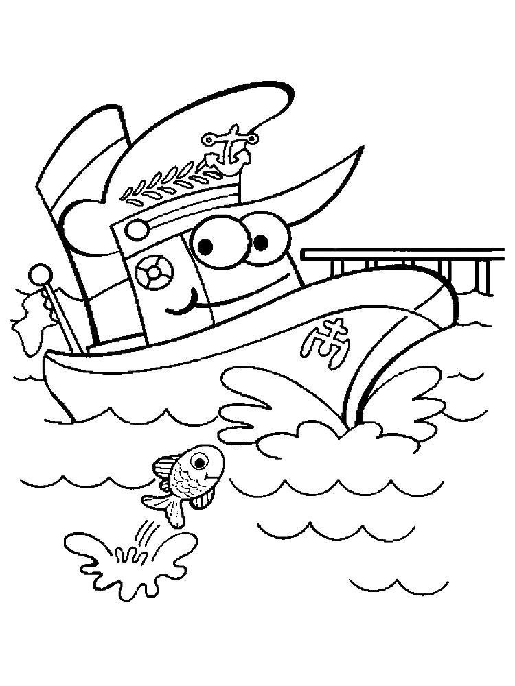 Раскраска Милый кораблик. Скачать корабли.  Распечатать корабли