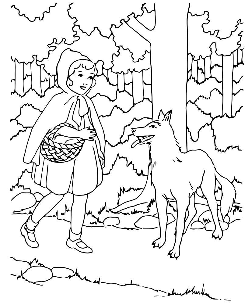 Раскраска волк и шапочка в лесу. Скачать красная шапочка.  Распечатать красная шапочка