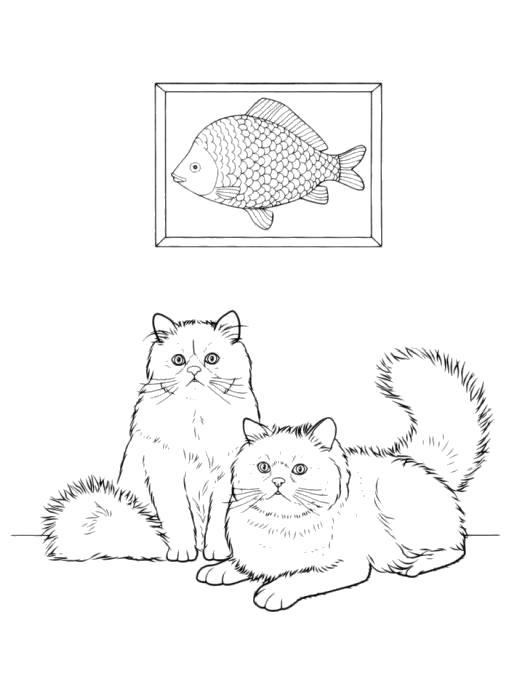 Раскраска  Кошка. Скачать кот, кошка.  Распечатать Домашние животные