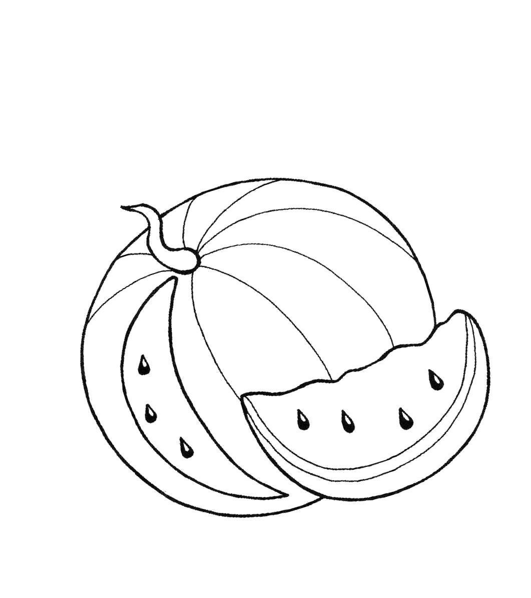 Раскраска  арбуз . Скачать арбуз.  Распечатать ягоды