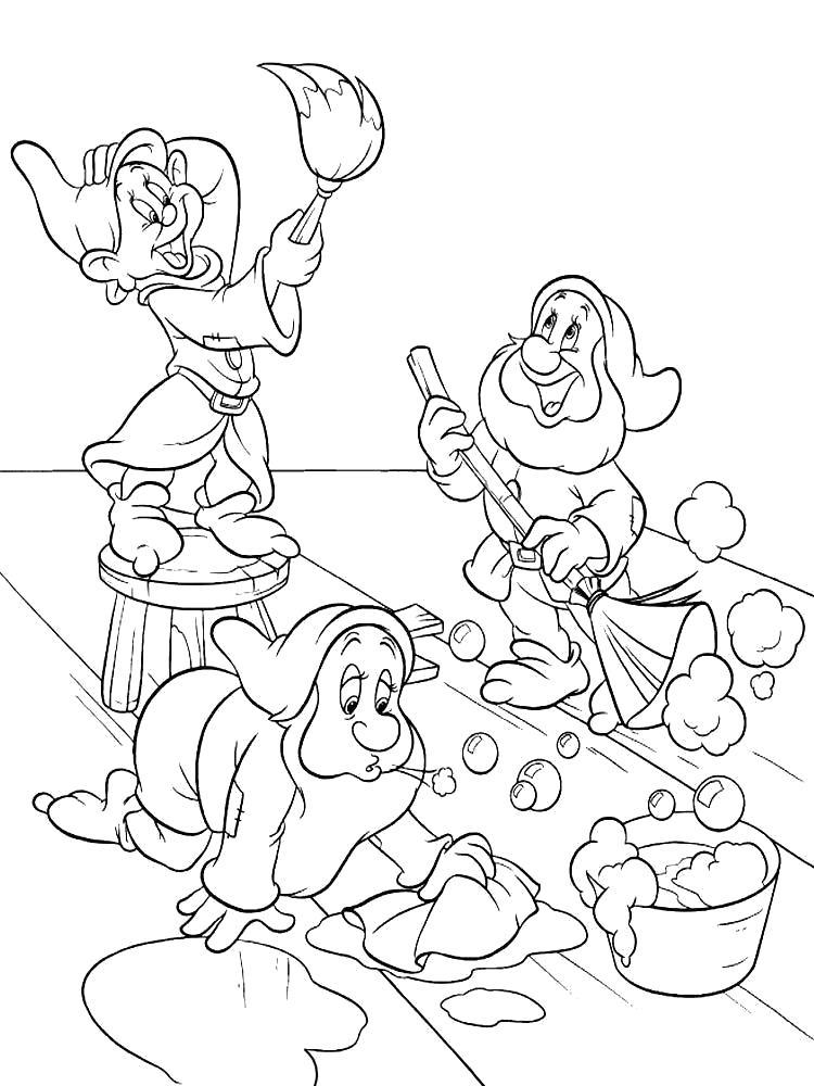 Раскраска Порадуйте своих малышей картинками с Белоснежкой и семью гномами. Скачать гном.  Распечатать гном