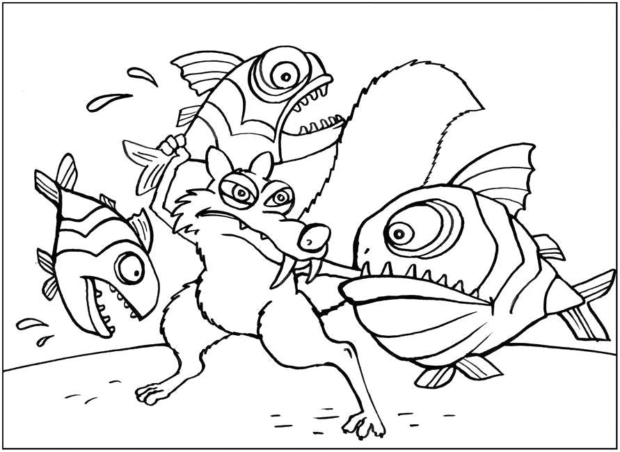 """Раскраска  """"Ледниковый период"""", Белка с рыбами. Скачать .  Распечатать"""