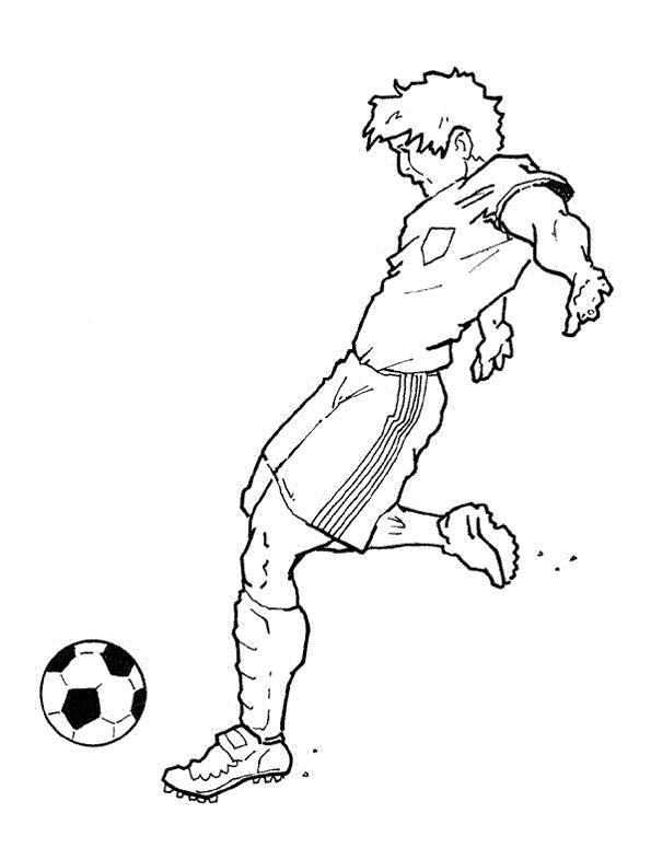 Раскраска Отбивая мячик. Скачать Футбол.  Распечатать Футбол