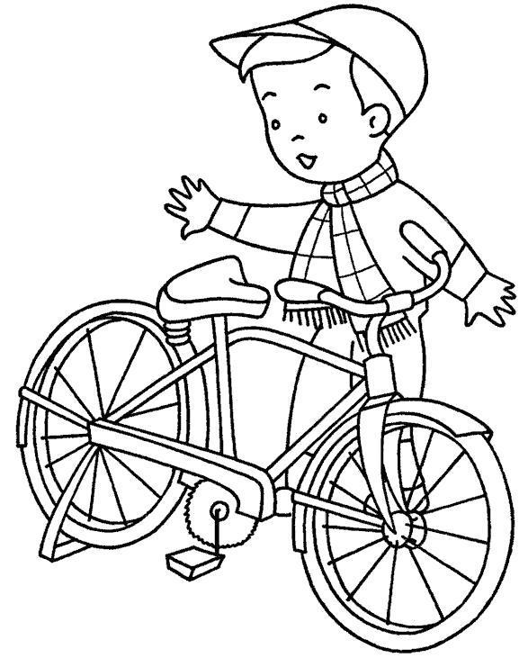 Раскраска мальчик и велосипед. Скачать Велосипед.  Распечатать Велосипед