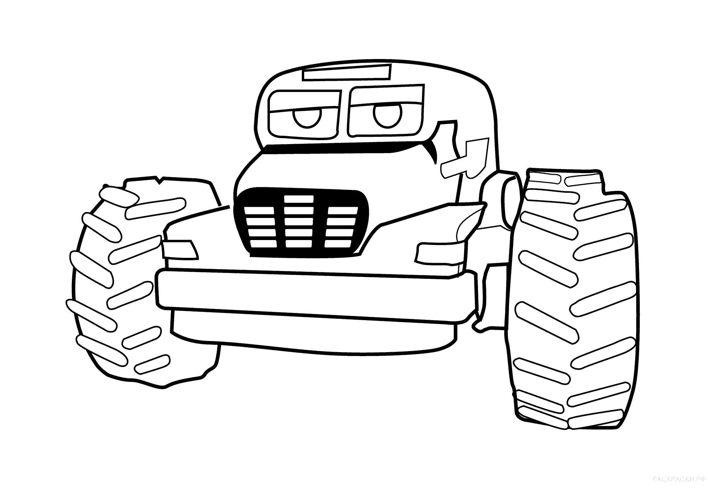 Раскраска  Большая машина с огромными колёсами. Скачать машины.  Распечатать машины
