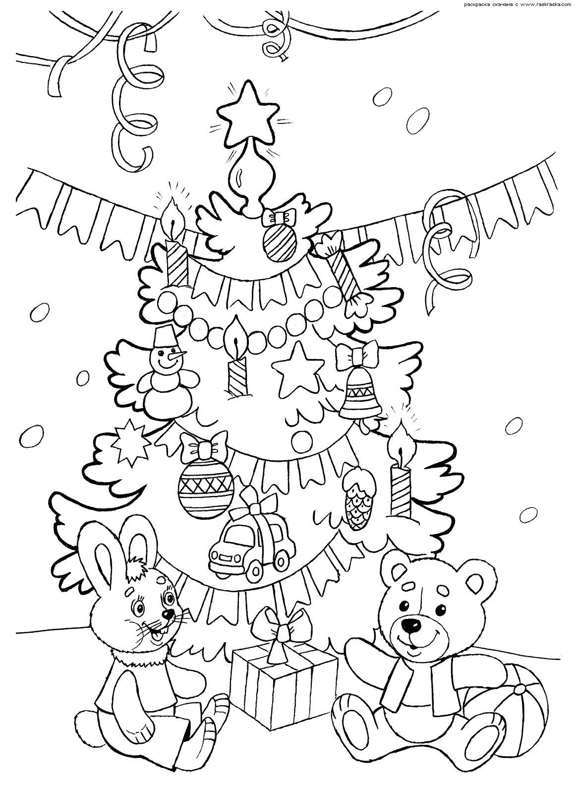 Раскраска Новый год и елка. Скачать Новый год.  Распечатать Раскраски по праздникам