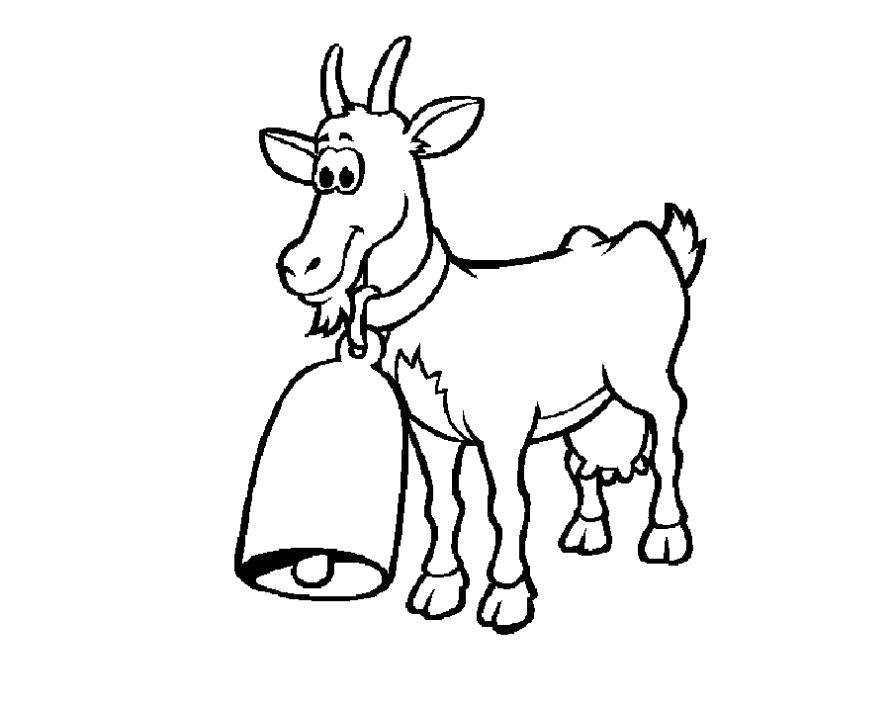 Раскраска  Коза. Скачать Коза.  Распечатать Домашние животные