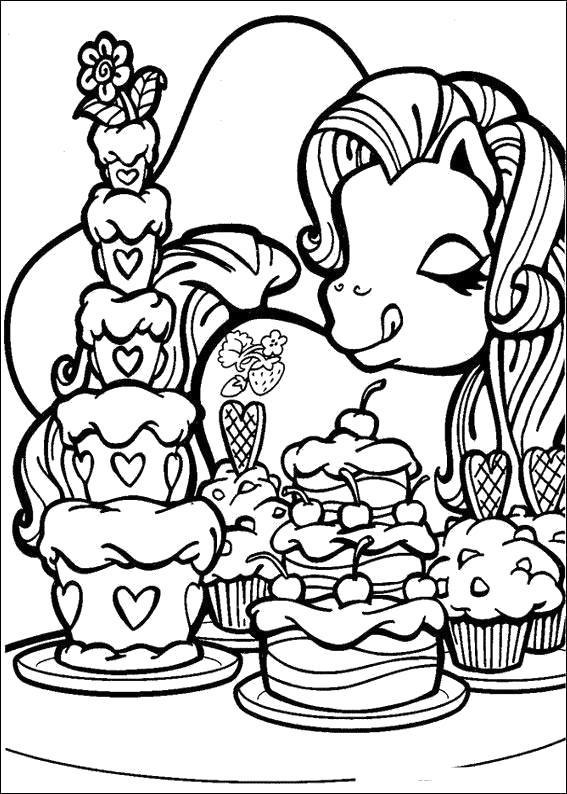 Раскраска пони и тортики. Скачать .  Распечатать