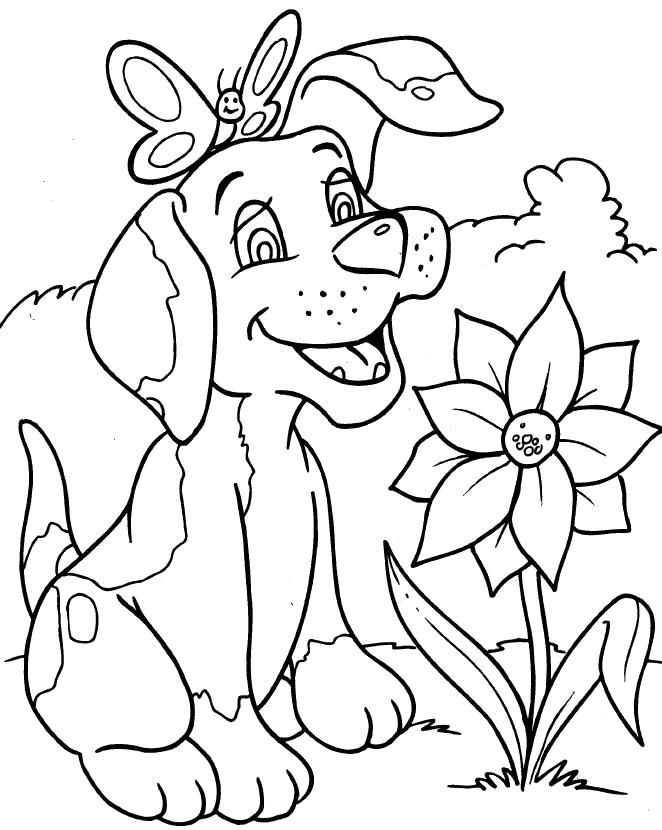 Раскраска Любитель цветов. Скачать Собаки.  Распечатать Собаки