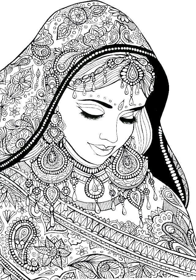 Раскраска Индийская девушка антистресс. Скачать .  Распечатать