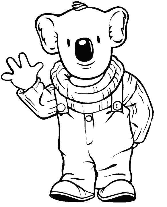 Раскраска Приветливый коала. Скачать .  Распечатать