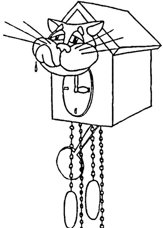 Раскраска кошка и часы, старые часы, Биг-бом. Скачать Будильник.  Распечатать Будильник