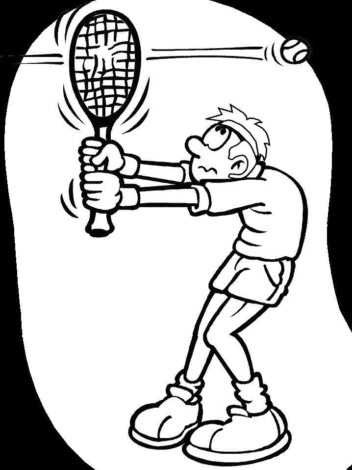 Раскраска  для детей теннисный мячик пробил рокетку. Скачать .  Распечатать