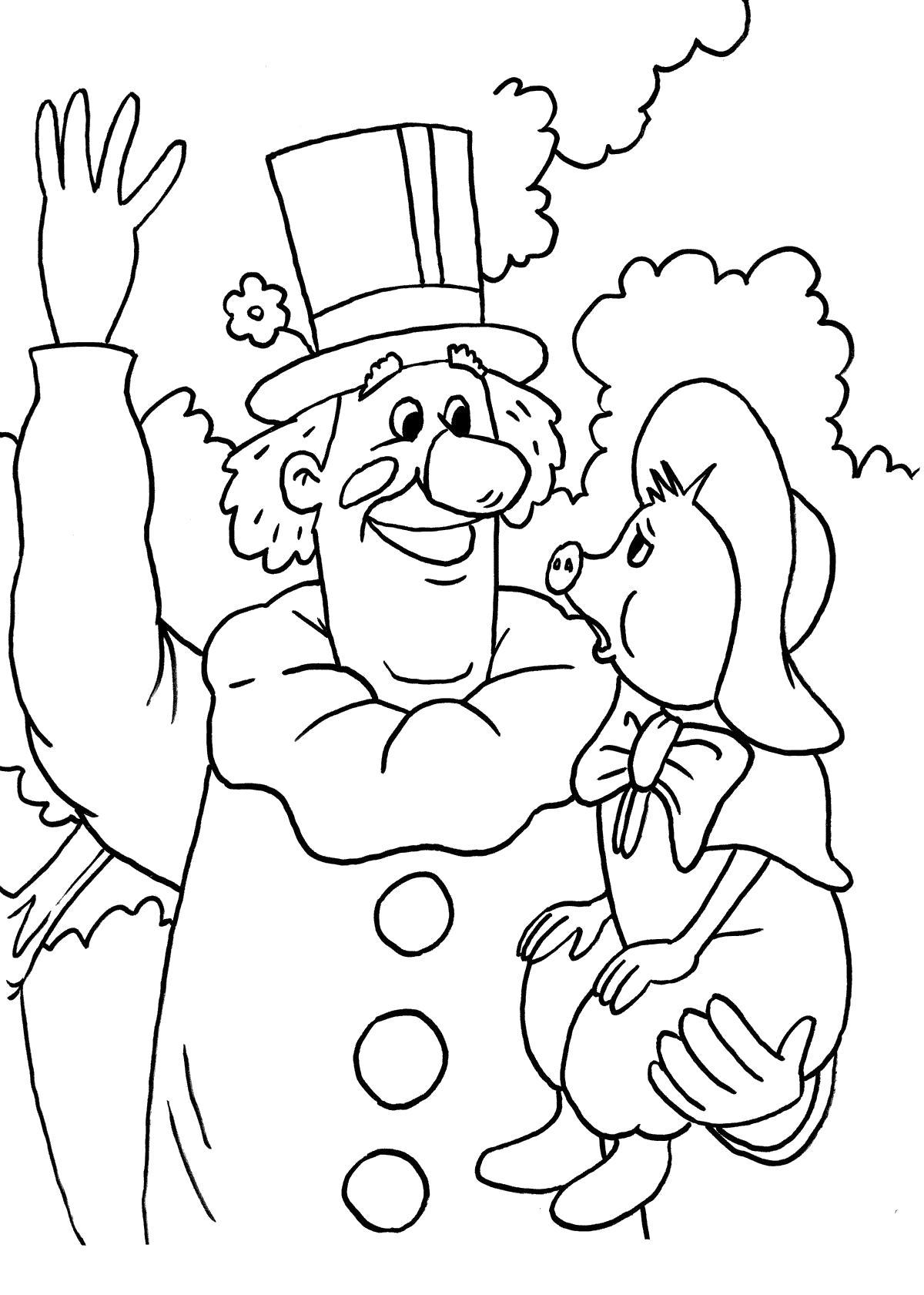 Раскраска Клоун и Фунтик. Скачать клоун.  Распечатать клоун